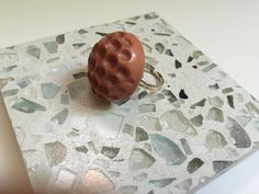 Chunky Brown Ring Adjustable Ring Cocktail Ring Vintage by mscenna