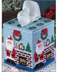 A whimsical Santa and pretty stained-glass designs adorn these boutique-style tissue toppers. They're quick to stitch on canvas with worsted weight and plastic canvas yarns. Two patterns included. Plastic Canvas Ornaments, Plastic Canvas Tissue Boxes, Plastic Canvas Crafts, Plastic Canvas Patterns, Plastic Canvas Christmas, Box Patterns, Needlepoint Patterns, Canvas Designs, Tissue Box Covers