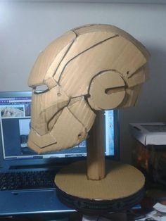 Iron Man's paper head. Incredible Cardboard Sculptures