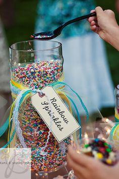 Use rainbow sprinkles instead of confetti on table?