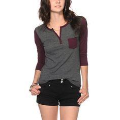 Zine Blackberry & Charcoal Henley Shirt