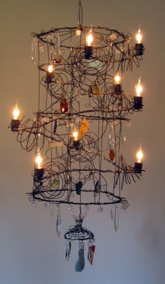 Cylinder Chandelier - annealed steel wire, vintage and contemporary crystals and beads, handmade beads, broken/tumbled dishes, stained glass