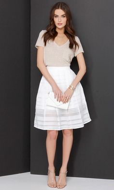 Mid Thought Ivory Midi Skirt