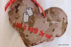 Love is worth the wait heart Christmas ornament by sewnwithhonor, $7.00