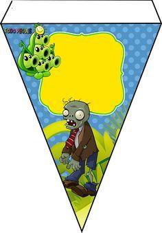 Decoración de Plantas Vs Zoombies para cumpleaños Zombie Birthday Parties, Leo Birthday, Zombie Party, Happy Birthday Banners, Plants Vs Zombies, Zombies Vs, Free Printable Banner, Free Banner, Plantas Versus Zombies