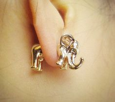 3D golden elephant earrings