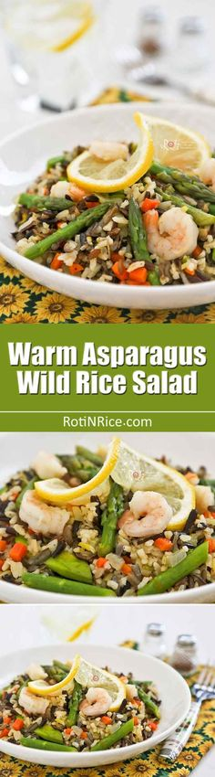 Usher in spring with this light and tasty Warm Asparagus and Wild Rice Salad. It works well as a side dish or a stand-alone light lunch.   RotiNRice.com