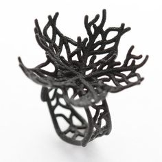 Black Coral Fan Lg  Ring by ArtizanWork on Etsy, $35.00