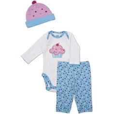 Gerber Newborn Girls' 3 Piece Cupcake Hat, Bodysuit and Pant Set