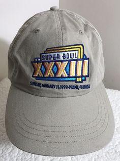 7a17e85ccf3 Vtg 1999 Miami Superbowl XXXIII NFL Hat Logo 7 Snapback Broncos vs Falcons