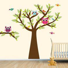 Owl Tree Art Owl Tree decal Owl Wall Decal by vinylartforwalls, $82.00