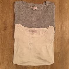 2 LOFT short sleeve tops!  Short-sleeve, loose fitting LOFT tees. Great with jeans or your favorite pair of shorts. Can be dressed up with jewelry. Never worn with tags. LOFT Tops Tees - Short Sleeve