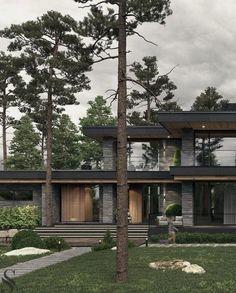 Dream Home Design, Modern House Design, Modern Exterior House Designs, Home Building Design, Building A House, Prairie Style Houses, Modern Architecture House, Modern House Facades, Concrete Architecture