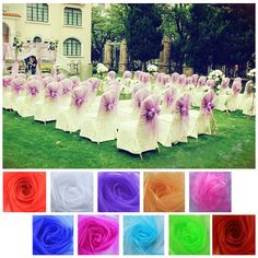 New Wedding Organza Chair Cover Sashes Bow Sash Party Decorator 10 Colors Voile