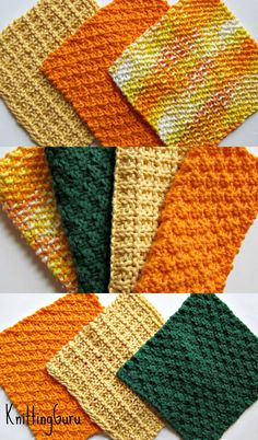 Autumn Dishcloths / Washcloths - from 6 Knitted Eco Dishcloths Pattern - great for decorating for the holidays - make in any colors - great for gifts, too.