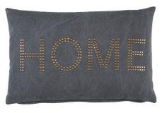 Sierkussen Kenzi: stoer kussen met tekst 'Home' in antraciet en taupe #woonaccessoires