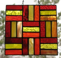 Stained glass split rail quilt square by Barbara's Glassworks