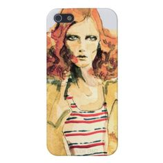 Art for your gadget. Yes.    Karen Elson Illustration iPhone 5 Case  Watercolor illustration by Katherine Elliott