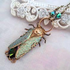 Cicada necklace, Cicada jewelry Art Deco jewelry, verdigris statement necklace insect jewelry, volcano Swarovski crystal pendant necklace