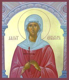 Christina of Tyre - July 24 Santa Cristina, Lives Of The Saints, Byzantine Art, Orthodox Christianity, July 24, Orthodox Icons, Catholic, Religion, Paintings