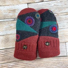 Sweater Mittens from scraps- Super Warm! upcycled, felted wool and DOUBLE lined, teal, rose red, made from scraps - Sweater Mittens - Sweater Mittens, Wool Sweaters, How To Wash Sweaters, Old Sweater Crafts, Recycled Sweaters, Wool Felt, Felted Wool, Mitten Gloves, Knitting Designs