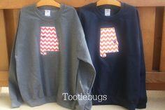 Auburn or Alabama State Sweatshirt Chevron Football by Tootlebugs, $30.00