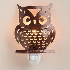 Metal Owl Night-Light Pinned by www.myowlbarn.com