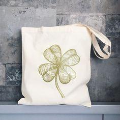 Green Clover Tote bag Cotton bag sports bag yoga bag baby