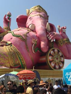 Bangkok, Thailand, Asia, Elephant, Culture, Pink, Elephants, Pink Hair, Roses