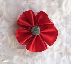 Red and Silver Satin Flower Hair Clip, Holiday Hair Bow, Christmas Hair Clip, Alligator Clip, Flower Barrette, Hair Accessory, Accessories, Girls, Headband Clip by BandsForBabes, $3.25