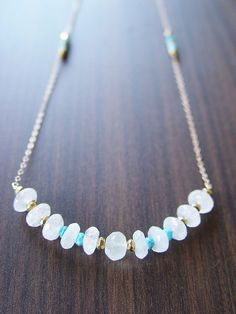 Moonstone Nugget Gold Necklace Long Statement by friedasophie