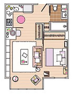 Solution: How to create 40 square meter (431 square feet) apartment comfortable - Notice the sliding wall/door for the bedroom.