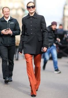 On the hunt for the coolest winter trend to take your outfit to the next level? We're sharing our number one must-have right here. Casual Work Outfits, Work Casual, Winter Outfits, Black Military Jacket, Orange Pants, Olivia Palermo Style, Clothes 2018, Work Fashion, Paris Fashion