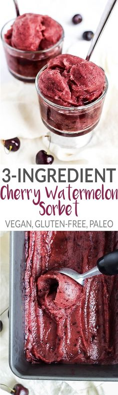 You only need three simple ingredients for this healthy & refreshing Cherry Watermelon Sorbet. A delicious, fruity treat that's vegan & gluten-free! #veganfrozentreats #veganfruitrecipes #emilieeats