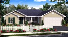 House Plan 59940 | Country Ranch Traditional Plan with 1310 Sq. Ft., 3 Bedrooms, 2 Bathrooms, 2 Car Garage