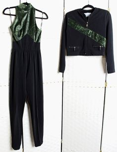 Fiona Ashley Black and Green Jumpsuit With by JustFiguresVintage