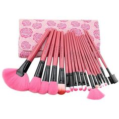 Floral 18PCS Professional Makeup Brush Set Make Up Sets Tools With... (£14) ❤ liked on Polyvore featuring beauty products, makeup, makeup tools, makeup brushes, beauty, foundation makeup brush, pink makeup brushes, lip brush, foundation brush en eye shadow brush