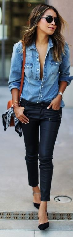 Pair a denim shirt with leather trousers for a simple but stylish fall look. Via Julie Sarinana.