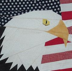 Pride of the Skies – Eagle head with American Flag in background - pp'd… Paper Pieced Quilt Patterns, Barn Quilt Patterns, Quilting Patterns, American Flag Quilt, Seminole Patchwork, Vogel Quilt, Bird Quilt, Patriotic Quilts, Animal Quilts