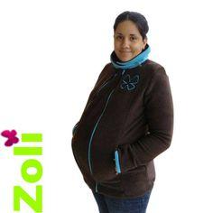 ZOLI draagjas en zwangerschapsjas chocolade turquoise -159
