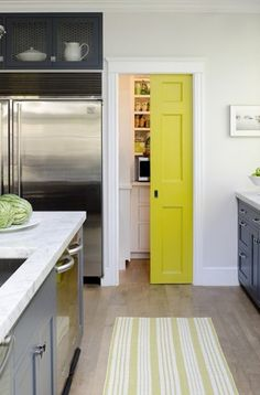 Love the idea of painting a sliding door with a pop of bright color!