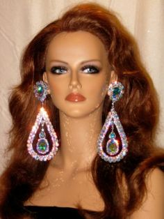 Huge Swarovski Rhinestone Earrings Drag Queen Xl 2 Ab