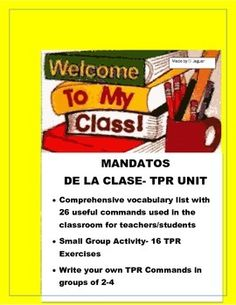 This interactive unit in Spanish is a great package to introduce students to basic classroom commands  and to have fun while they perform the commands in class using TPR techniques.  They will enjoy rehearsing commands, learning commands and finally writing their own routines while moving around the classroom.