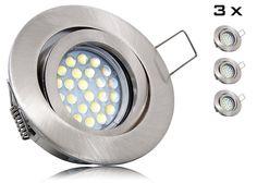 3er LED Einbaustrahler Set mit Marken GU10 LED Spot LC Light 5 Watt Alu-Druckguß Rund Klickverschluß