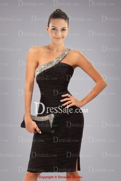 Shimmering One-shoulder in Crystals for Classic Black Cocktail Dress in Pleats