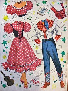 Paper Dolls Roy Rogers & Dale Evans Whitman Vintage 1953 from barbgrrlzdolls on Ruby Lane..