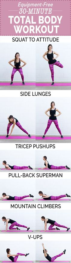 Strap on your most adorable workout shoes grab some water, and let's do this Equipment-Free Total Body Workout! Belly Fat Loss, Lose Belly Fat, Best Cardio Workout, Body Workouts, Workout Fitness, Fitness Motivation, Fitness Tips For Men, Holiday Workout, Exercises
