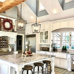 We can't imagine anything better than this kitchen It has everything needed to make a perfect #farmhouse space and we can feel the love and work @theramblingredhead put into it wonderful job, Jen! Go check her page out #moveitupmonday #inspirememonday #mondayinspiration #farmhousekitchen #kitchengoals #kitchendecor #myfixerupper #whitecabinets. SAVED BY WENDY SIMMONS