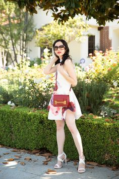 Shein floral dress, Sophie Hulme Crossbody Bag, Gucci Sunglasses, Lisa Valerie Morgan, Pretty Little Shoppers Blog, Actress and Blogger, Los Angeles Fashion Blogger, Spring Fashion, Floral Dress, BCBG Sandals