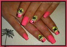 Neon gel polish and Palm trees by RadiD – Nail Art Gallery nailartgallery.na… … - Best Nail Art Bright Nails, Neon Nails, My Nails, Hawaii Nails, Beach Nails, Hawaii Hawaii, Cute Nails, Pretty Nails, Neon Gel Polish